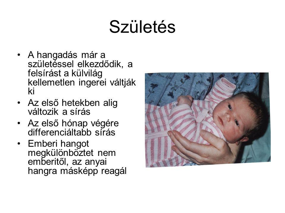Születés A hangadás már a születéssel elkezdődik, a felsírást a külvilág kellemetlen ingerei váltják ki Az első hetekben alig változik a sírás Az első