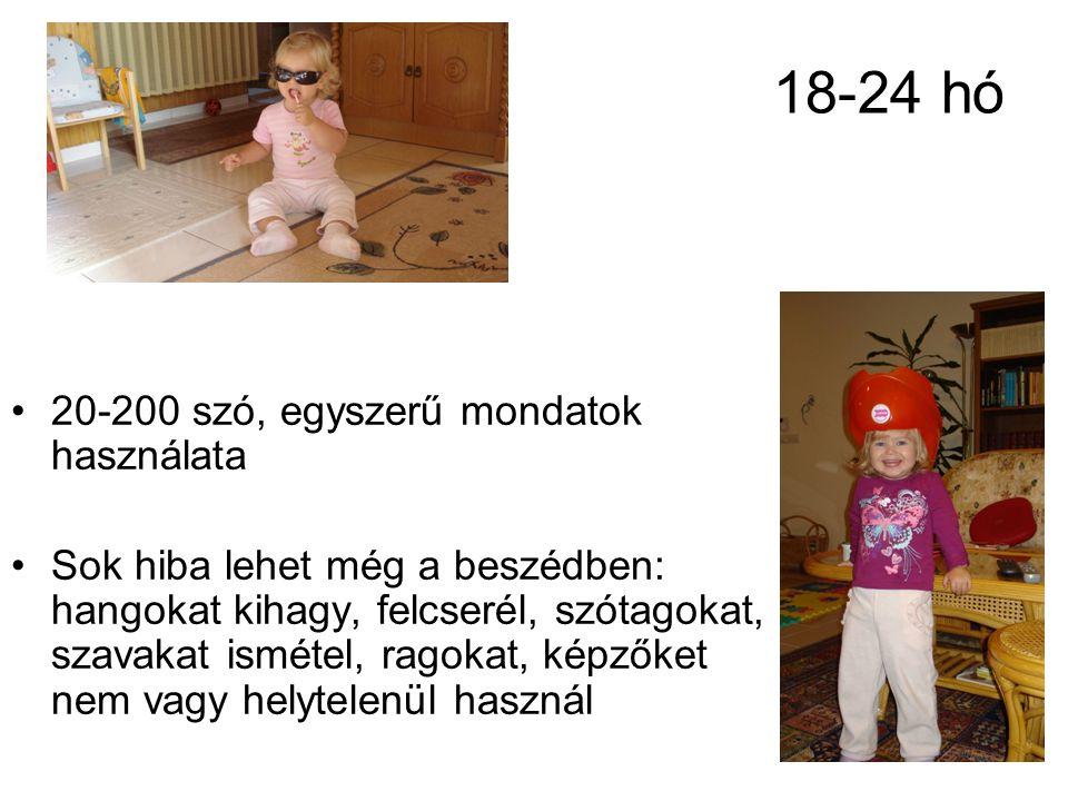 18-24 hó 20-200 szó, egyszerű mondatok használata Sok hiba lehet még a beszédben: hangokat kihagy, felcserél, szótagokat, szavakat ismétel, ragokat, k