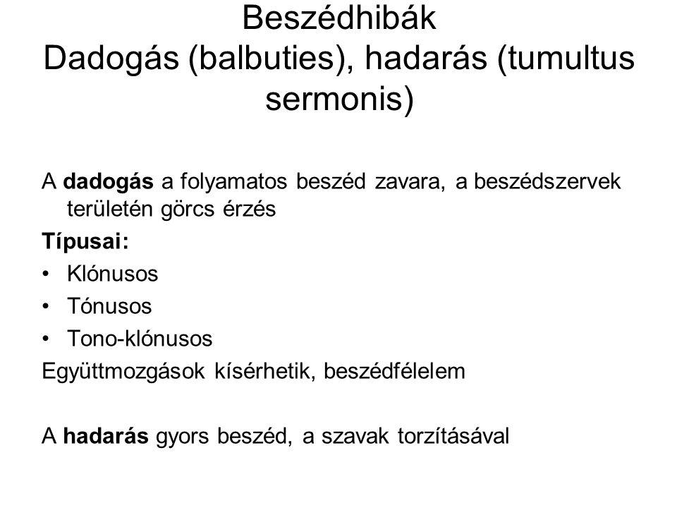 Beszédhibák Dadogás (balbuties), hadarás (tumultus sermonis) A dadogás a folyamatos beszéd zavara, a beszédszervek területén görcs érzés Típusai: Klón
