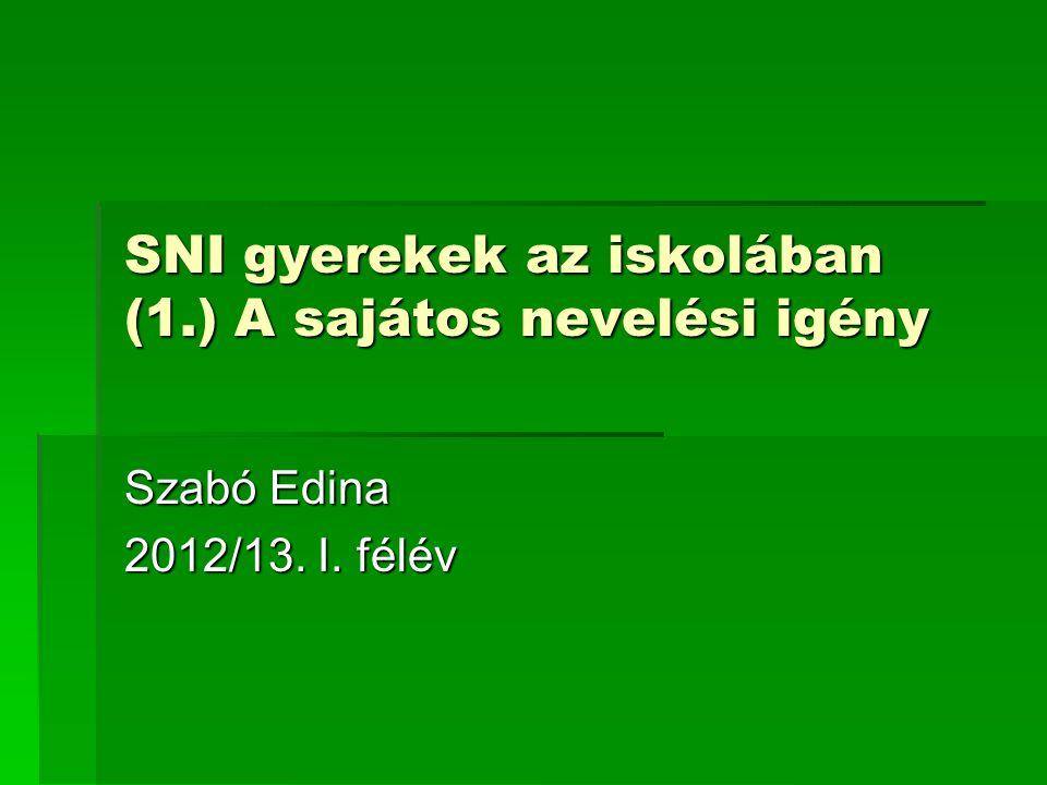 SNI gyerekek az iskolában (1.) A sajátos nevelési igény Szabó Edina 2012/13. I. félév