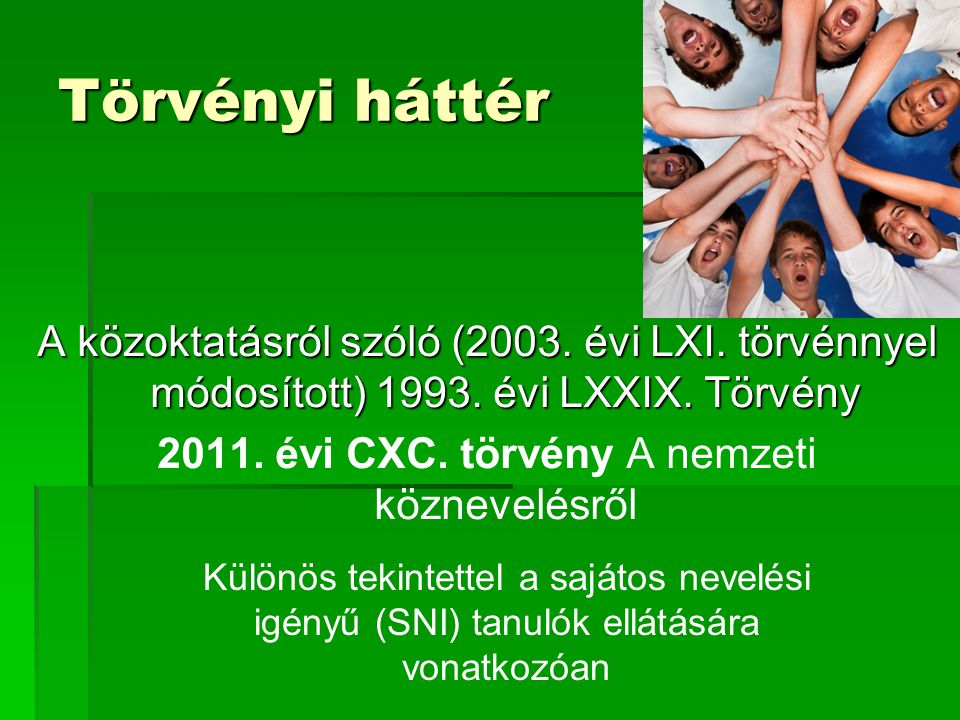 Törvényi háttér A közoktatásról szóló (2003. évi LXI. törvénnyel módosított) 1993. évi LXXIX. Törvény 2011. évi CXC. törvény A nemzeti köznevelésről K