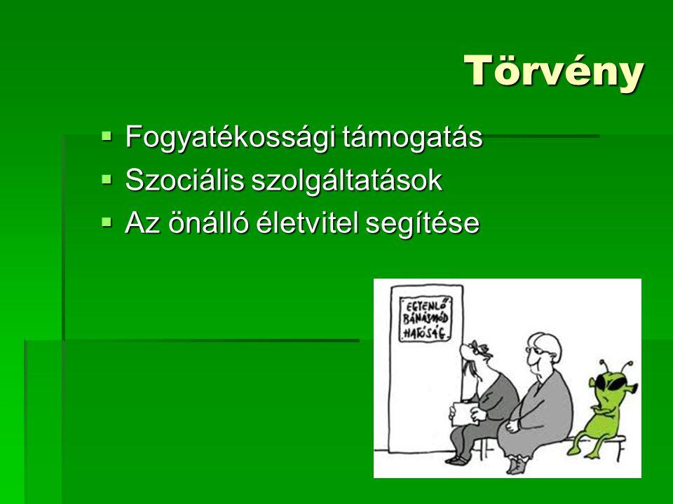 Törvény  Fogyatékossági támogatás  Szociális szolgáltatások  Az önálló életvitel segítése
