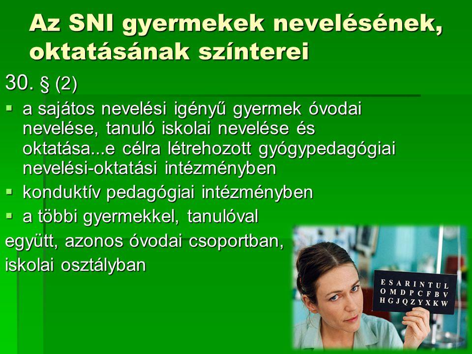 Az SNI gyermekek nevelésének, oktatásának színterei 30. § (2)  a sajátos nevelési igényű gyermek óvodai nevelése, tanuló iskolai nevelése és oktatása
