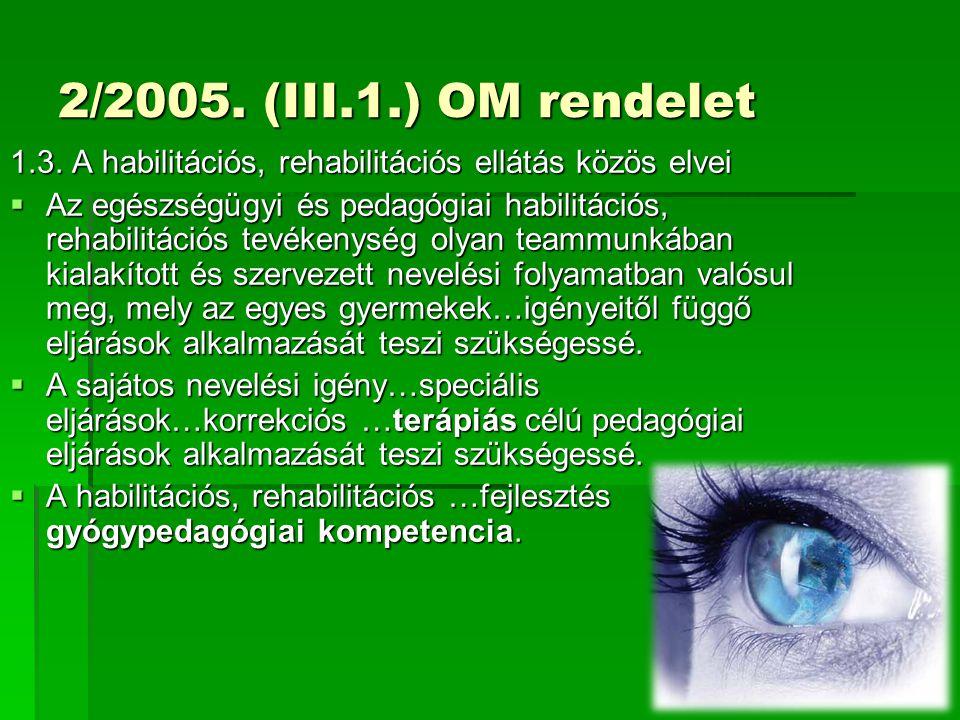 2/2005. (III.1.) OM rendelet 1.3. A habilitációs, rehabilitációs ellátás közös elvei  Az egészségügyi és pedagógiai habilitációs, rehabilitációs tevé