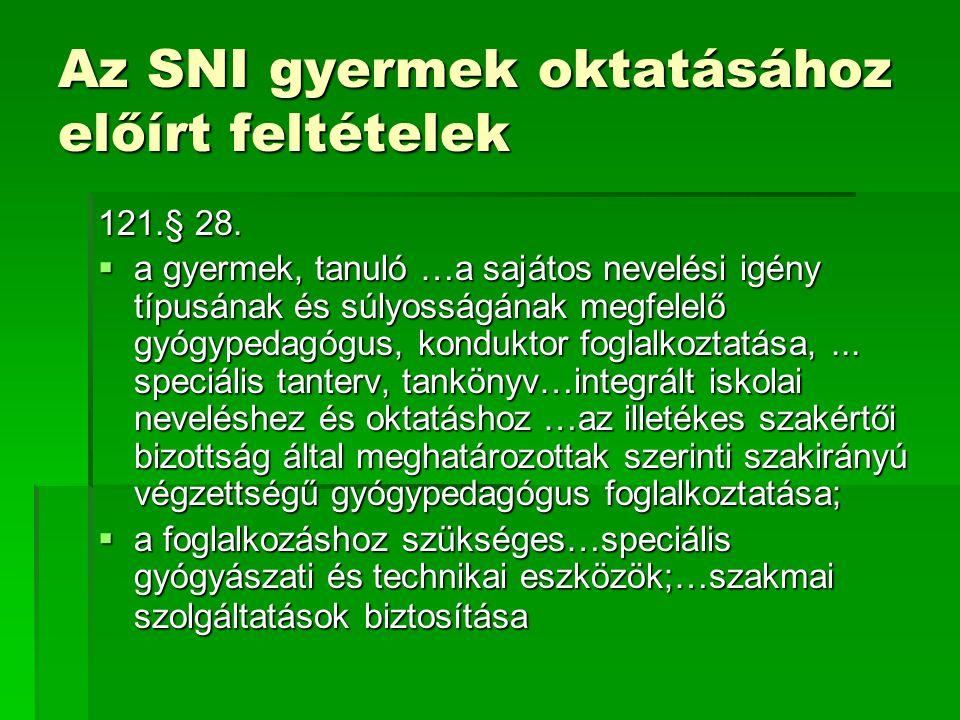 Az SNI gyermek oktatásához előírt feltételek 121.§ 28.  a gyermek, tanuló …a sajátos nevelési igény típusának és súlyosságának megfelelő gyógypedagóg
