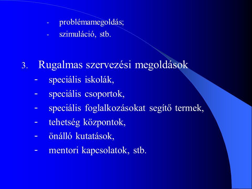 - problémamegoldás; - szimuláció, stb. 3. Rugalmas szervezési megoldások - speciális iskolák, - speciális csoportok, - speciális foglalkozásokat segít