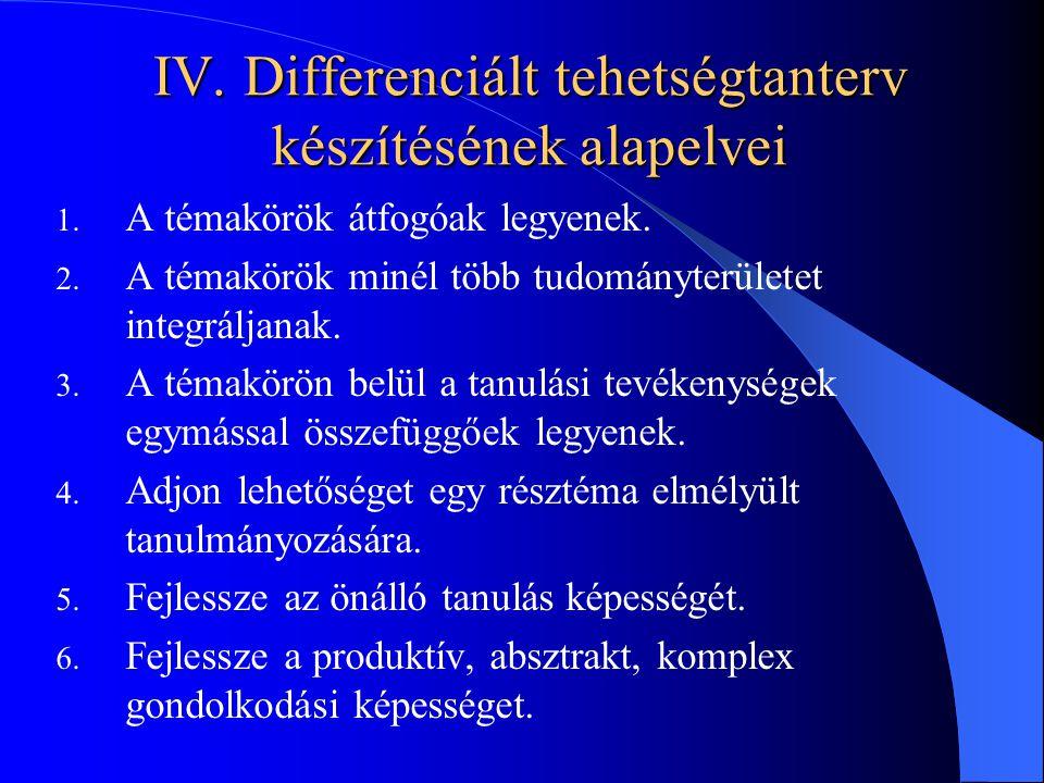IV. Differenciált tehetségtanterv készítésének alapelvei 1. A témakörök átfogóak legyenek. 2. A témakörök minél több tudományterületet integráljanak.
