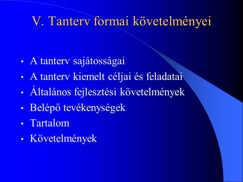 V. Tanterv formai követelményei A tanterv sajátosságai A tanterv kiemelt céljai és feladatai Általános fejlesztési követelmények Belépő tevékenységek