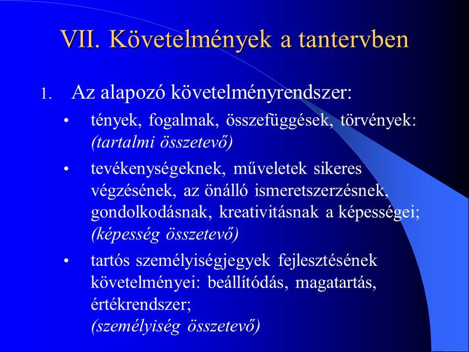 VII. Követelmények a tantervben 1. Az alapozó követelményrendszer: tények, fogalmak, összefüggések, törvények: (tartalmi összetevő) tevékenységeknek,