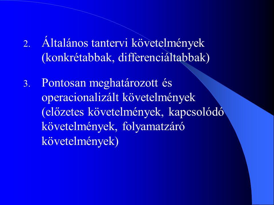 2. Általános tantervi követelmények (konkrétabbak, differenciáltabbak) 3. Pontosan meghatározott és operacionalizált követelmények (előzetes követelmé