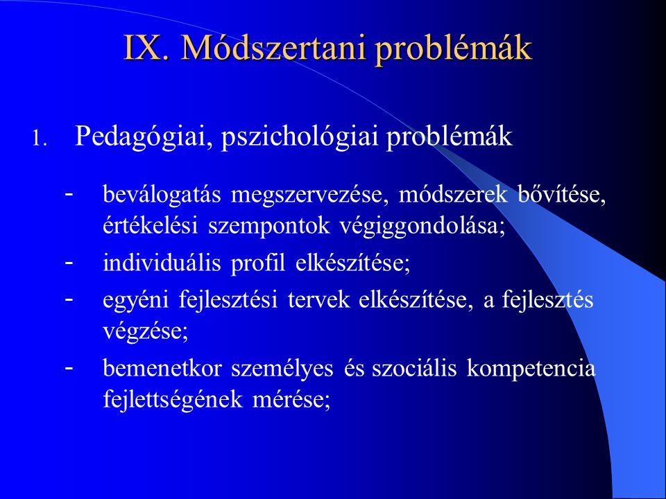 IX. Módszertani problémák 1. Pedagógiai, pszichológiai problémák - beválogatás megszervezése, módszerek bővítése, értékelési szempontok végiggondolása