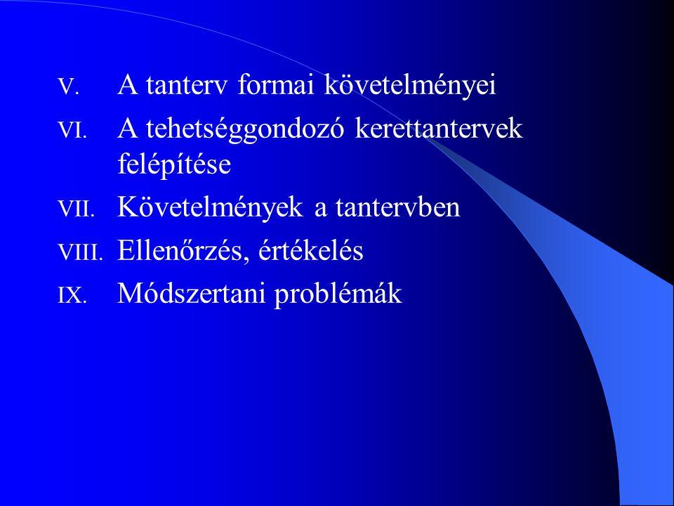 V. A tanterv formai követelményei VI. A tehetséggondozó kerettantervek felépítése VII. Követelmények a tantervben VIII. Ellenőrzés, értékelés IX. Móds