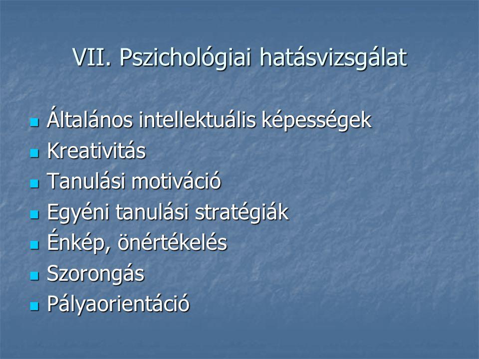 VII. Pszichológiai hatásvizsgálat Általános intellektuális képességek Általános intellektuális képességek Kreativitás Kreativitás Tanulási motiváció T