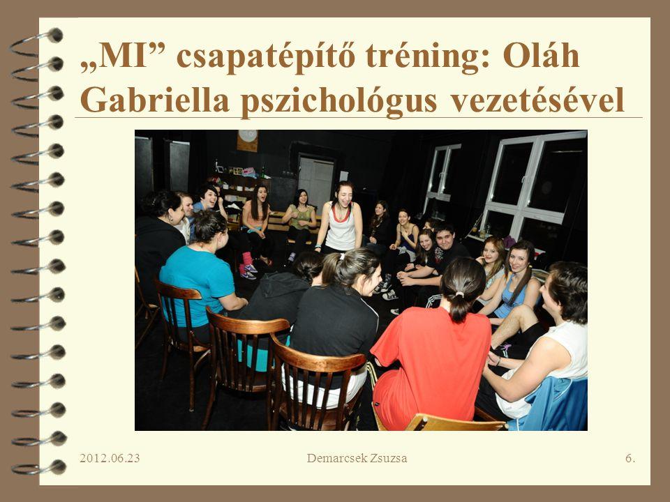 """2012.06.23Demarcsek Zsuzsa6. """"MI"""" csapatépítő tréning: Oláh Gabriella pszichológus vezetésével"""