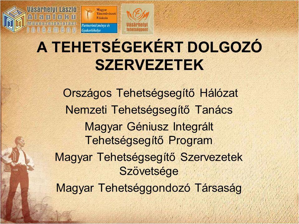 A TEHETSÉGEKÉRT DOLGOZÓ SZERVEZETEK Országos Tehetségsegítő Hálózat Nemzeti Tehetségsegítő Tanács Magyar Géniusz Integrált Tehetségsegítő Program Magy