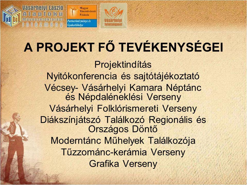A PROJEKT FŐ TEVÉKENYSÉGEI Projektindítás Nyitókonferencia és sajtótájékoztató Vécsey- Vásárhelyi Kamara Néptánc és Népdaléneklési Verseny Vásárhelyi