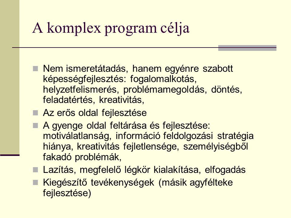 A komplex program célja Nem ismeretátadás, hanem egyénre szabott képességfejlesztés: fogalomalkotás, helyzetfelismerés, problémamegoldás, döntés, feladatértés, kreativitás, Az erős oldal fejlesztése A gyenge oldal feltárása és fejlesztése: motiválatlanság, információ feldolgozási stratégia hiánya, kreativitás fejletlensége, személyiségből fakadó problémák, Lazítás, megfelelő légkör kialakítása, elfogadás Kiegészítő tevékenységek (másik agyfélteke fejlesztése)