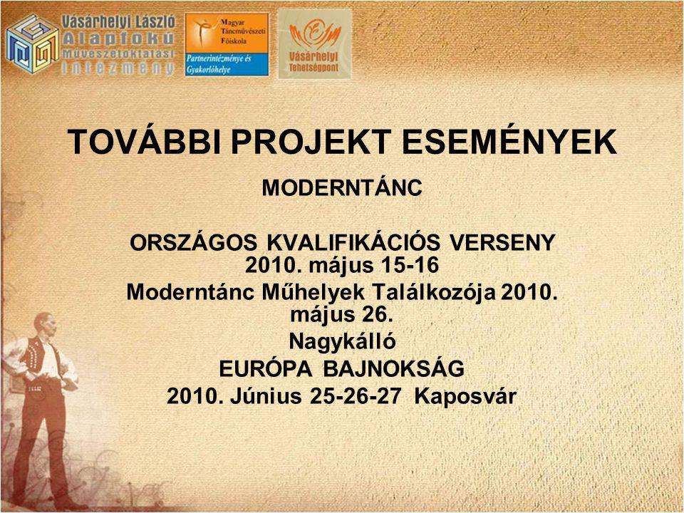 TOVÁBBI PROJEKT ESEMÉNYEK MODERNTÁNC ORSZÁGOS KVALIFIKÁCIÓS VERSENY 2010. május 15-16 Moderntánc Műhelyek Találkozója 2010. május 26. Nagykálló EURÓPA
