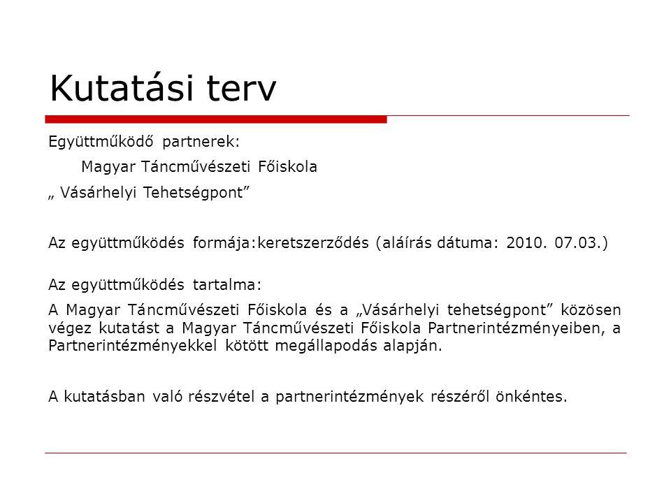"""Kutatási terv Együttműködő partnerek: Magyar Táncművészeti Főiskola """" Vásárhelyi Tehetségpont"""" Az együttműködés formája:keretszerződés (aláírás dátuma"""