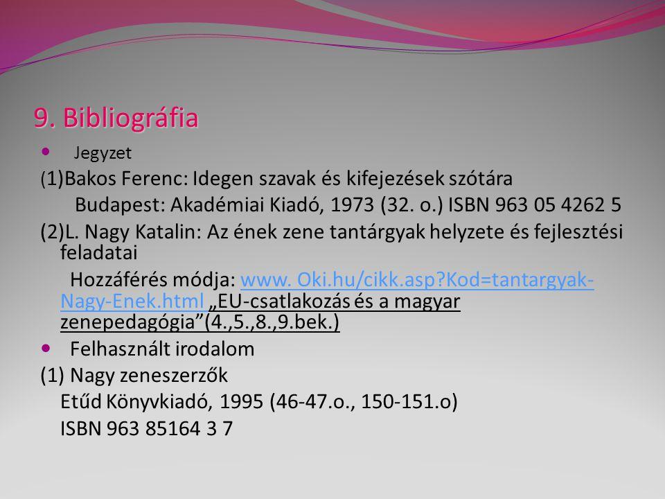 9. Bibliográfia Jegyzet ( 1)Bakos Ferenc: Idegen szavak és kifejezések szótára Budapest: Akadémiai Kiadó, 1973 (32. o.) ISBN 963 05 4262 5 (2)L. Nagy