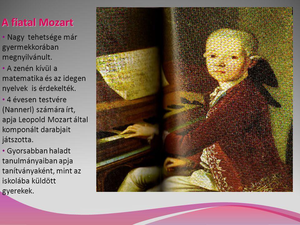 A fiatal Mozart Nagy tehetsége már gyermekkorában megnyilvánult. A zenén kívül a matematika és az idegen nyelvek is érdekelték. 4 évesen testvére (Nan