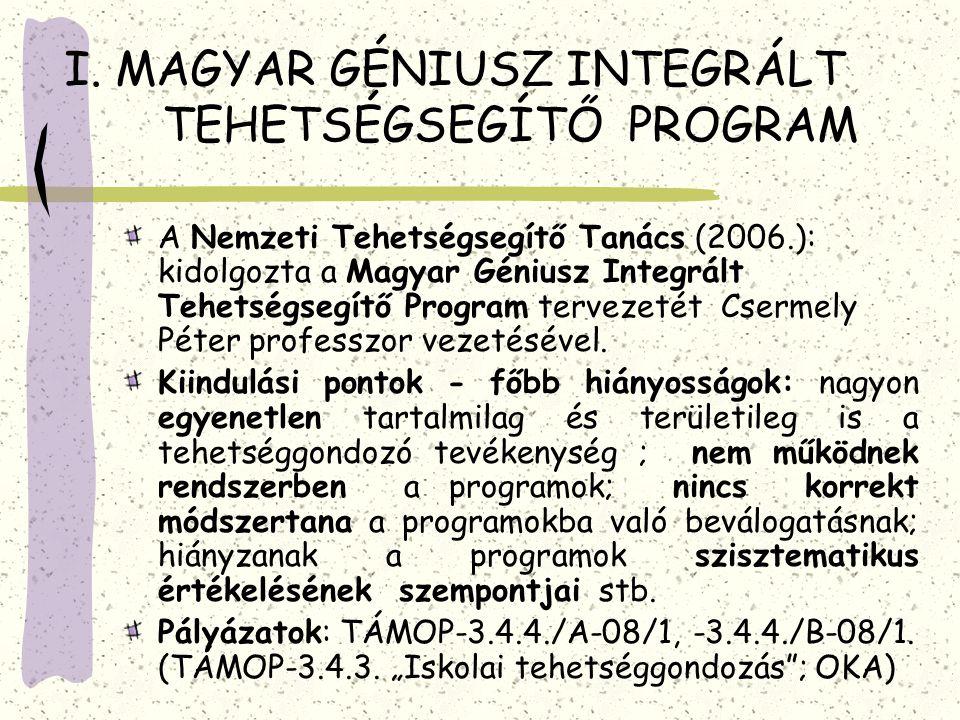 I. MAGYAR GÉNIUSZ INTEGRÁLT TEHETSÉGSEGÍTŐ PROGRAM A Nemzeti Tehetségsegítő Tanács (2006.): kidolgozta a Magyar Géniusz Integrált Tehetségsegítő Progr