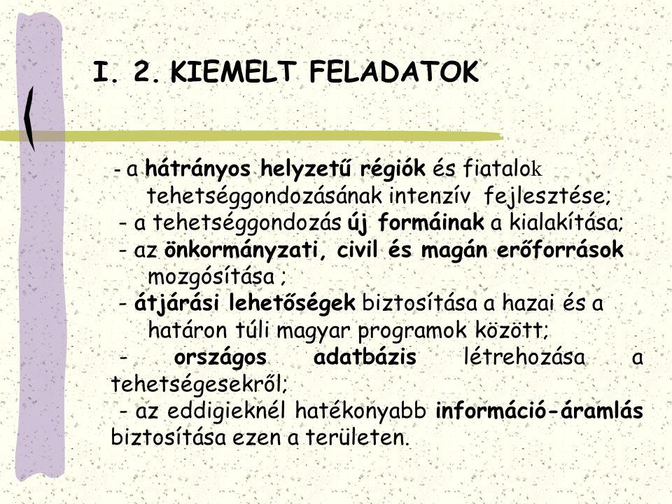 I. 2. KIEMELT FELADATOK - a hátrányos helyzetű régiók és fiatalo k tehetséggondozásának intenzív fejlesztése; - a tehetséggondozás új formáinak a kial