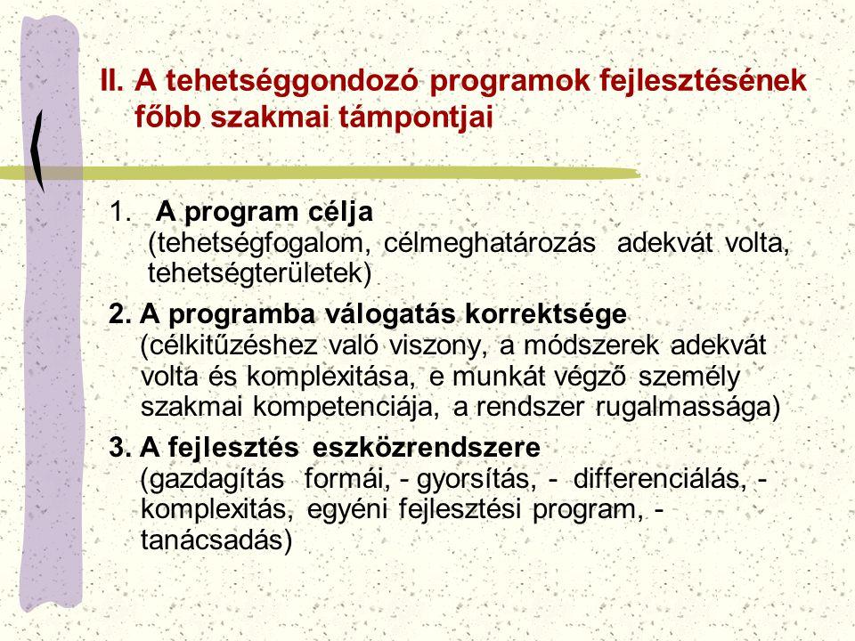 II. A tehetséggondozó programok fejlesztésének főbb szakmai támpontjai 1. A program célja (tehetségfogalom, célmeghatározás adekvát volta, tehetségter