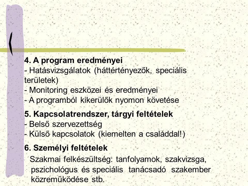 4. A program eredményei - Hatásvizsgálatok (háttértényezők, speciális területek) - Monitoring eszközei és eredményei - A programból kikerülők nyomon k