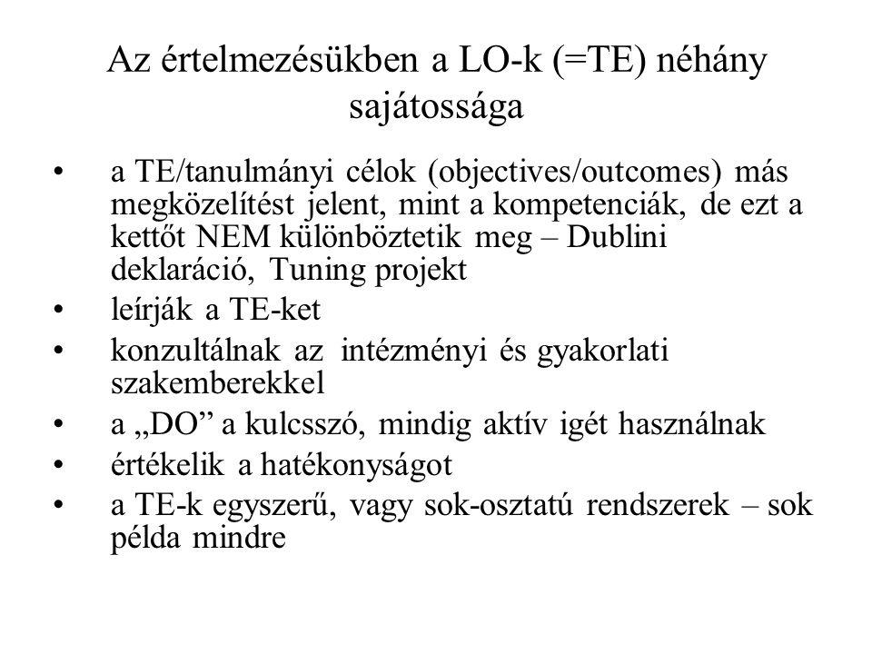 Az értelmezésükben a LO-k (=TE) néhány sajátossága a TE/tanulmányi célok (objectives/outcomes) más megközelítést jelent, mint a kompetenciák, de ezt a