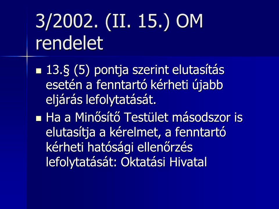 3/2002. (II. 15.) OM rendelet 13.§ (5) pontja szerint elutasítás esetén a fenntartó kérheti újabb eljárás lefolytatását. 13.§ (5) pontja szerint eluta