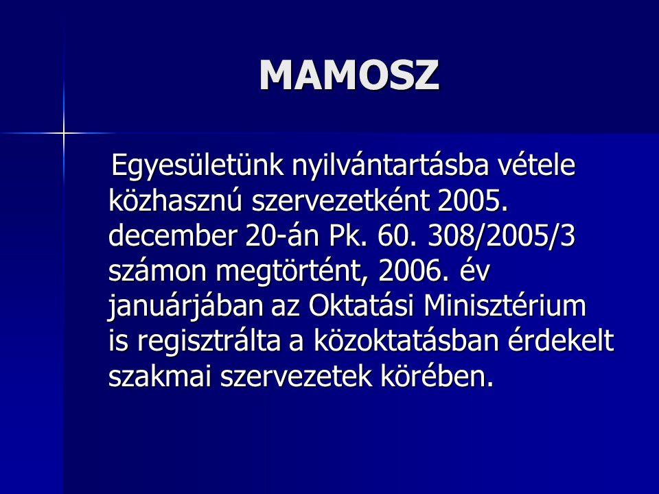 MAMOSZ Egyesületünk nyilvántartásba vétele közhasznú szervezetként 2005. december 20-án Pk. 60. 308/2005/3 számon megtörtént, 2006. év januárjában az