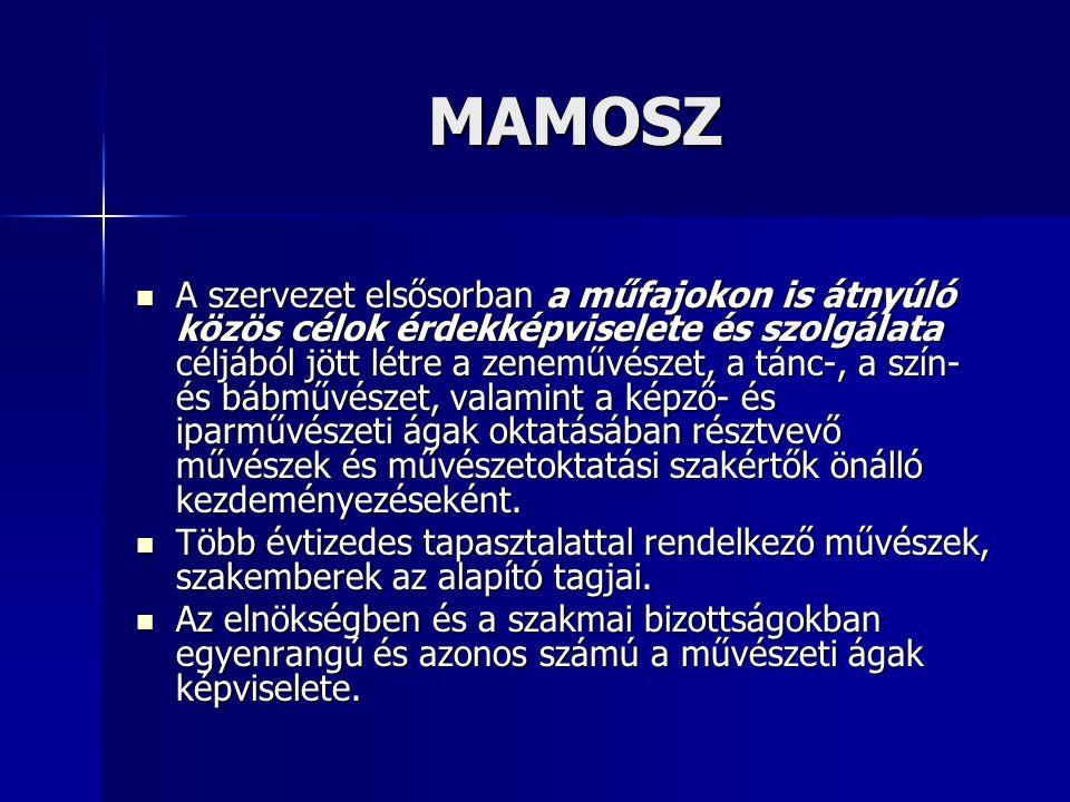 MAMOSZ MAMOSZ A szervezet elsősorban a műfajokon is átnyúló közös célok érdekképviselete és szolgálata céljából jött létre a zeneművészet, a tánc-, a