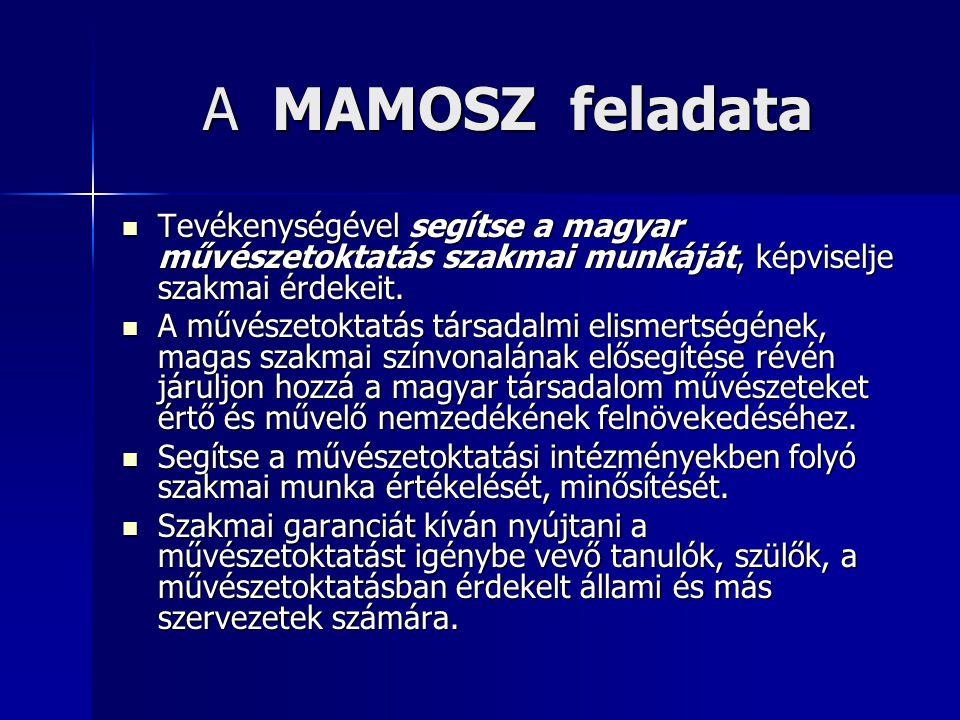 A MAMOSZ feladata Tevékenységével segítse a magyar művészetoktatás szakmai munkáját, képviselje szakmai érdekeit. Tevékenységével segítse a magyar műv