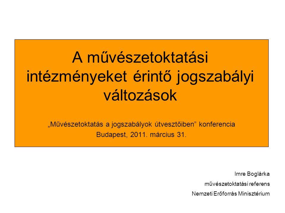 """A művészetoktatási intézményeket érintő jogszabályi változások """"Művészetoktatás a jogszabályok útvesztőiben konferencia Budapest, 2011."""