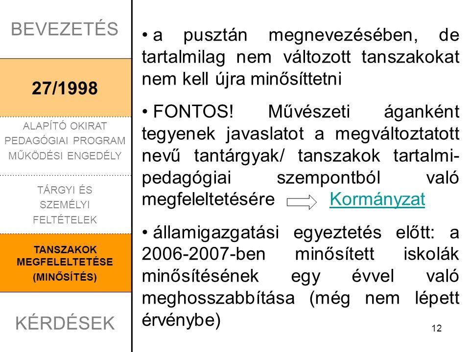 12 BEVEZETÉS 27/1998 ALAPÍTÓ OKIRAT PEDAGÓGIAI PROGRAM MŰKÖDÉSI ENGEDÉLY TÁRGYI ÉS SZEMÉLYI FELTÉTELEK TANSZAKOK MEGFELELTETÉSE (MINŐSÍTÉS) KÉRDÉSEK a pusztán megnevezésében, de tartalmilag nem változott tanszakokat nem kell újra minősíttetni FONTOS.