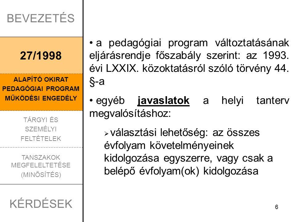 6 BEVEZETÉS 27/1998 ALAPÍTÓ OKIRAT PEDAGÓGIAI PROGRAM MŰKÖDÉSI ENGEDÉLY TÁRGYI ÉS SZEMÉLYI FELTÉTELEK TANSZAKOK MEGFELELTETÉSE (MINŐSÍTÉS) KÉRDÉSEK a pedagógiai program változtatásának eljárásrendje főszabály szerint: az 1993.