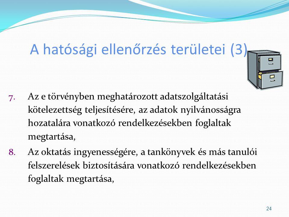 A hatósági ellenőrzés területei (3) 7. Az e törvényben meghatározott adatszolgáltatási kötelezettség teljesítésére, az adatok nyilvánosságra hozatalár