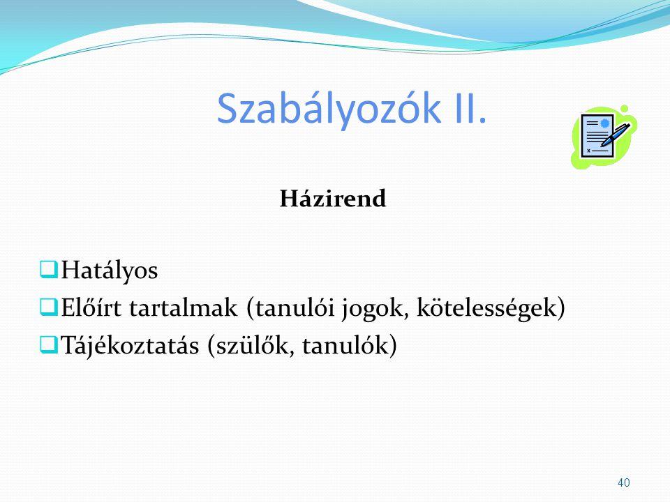 Szabályozók II. Házirend  Hatályos  Előírt tartalmak (tanulói jogok, kötelességek)  Tájékoztatás (szülők, tanulók) 40