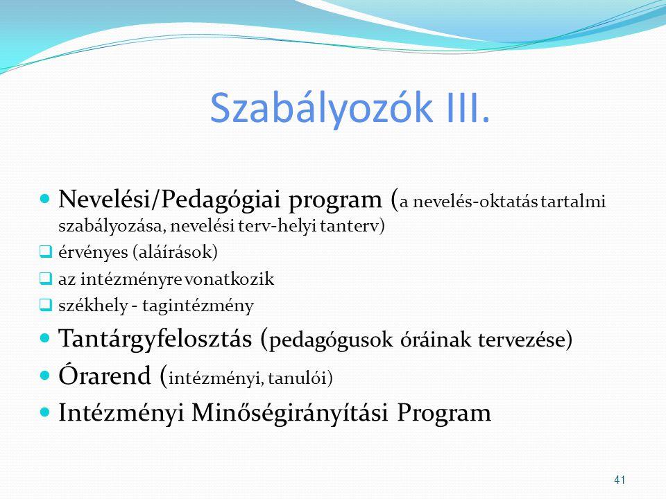 Szabályozók III. Nevelési/Pedagógiai program ( a nevelés-oktatás tartalmi szabályozása, nevelési terv-helyi tanterv)  érvényes (aláírások)  az intéz