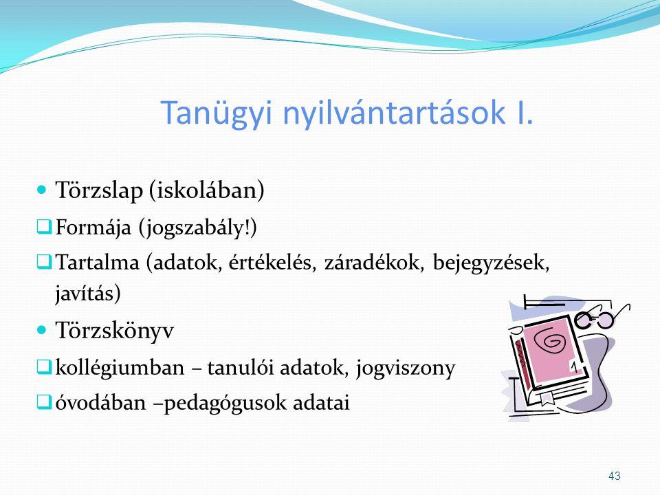 Tanügyi nyilvántartások I. Törzslap (iskolában)  Formája (jogszabály!)  Tartalma (adatok, értékelés, záradékok, bejegyzések, javítás) Törzskönyv  k