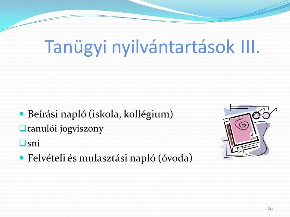 Tanügyi nyilvántartások III. Beírási napló (iskola, kollégium)  tanulói jogviszony  sni Felvételi és mulasztási napló (óvoda) 45