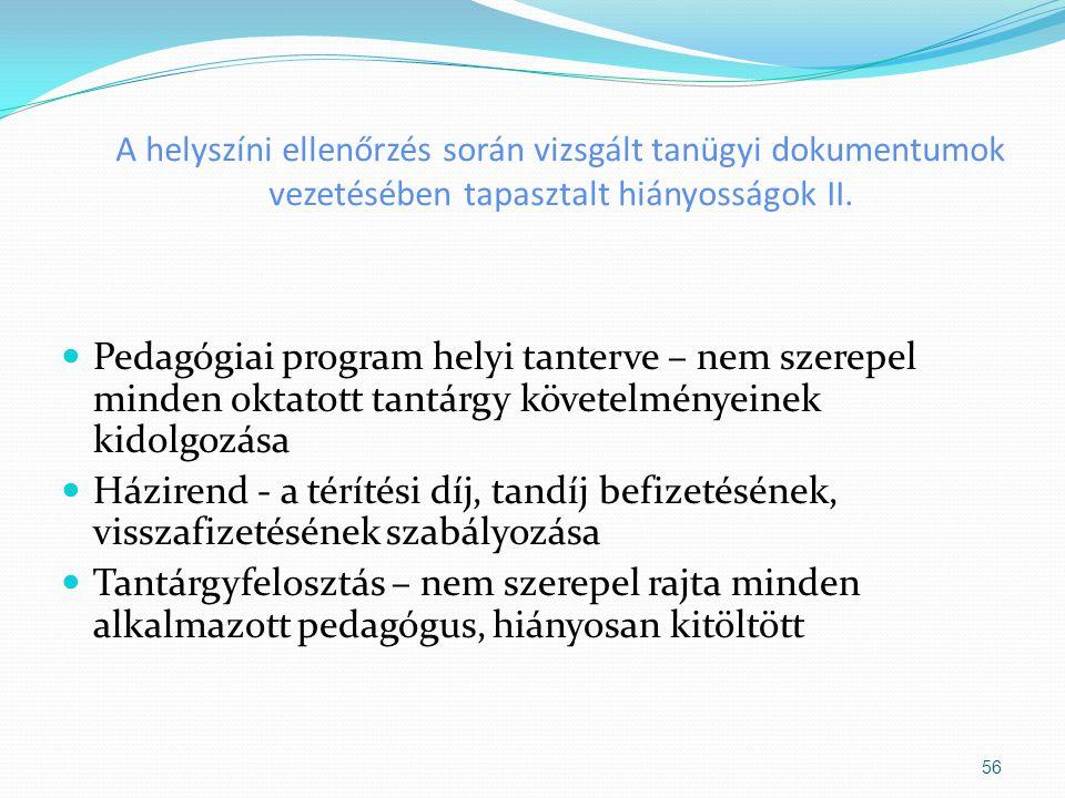 A helyszíni ellenőrzés során vizsgált tanügyi dokumentumok vezetésében tapasztalt hiányosságok II. Pedagógiai program helyi tanterve – nem szerepel mi