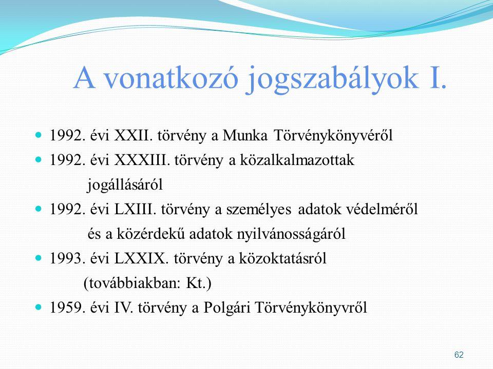 A vonatkozó jogszabályok I. 1992. évi XXII. törvény a Munka Törvénykönyvéről 1992. évi XXXIII. törvény a közalkalmazottak jogállásáról 1992. évi LXIII