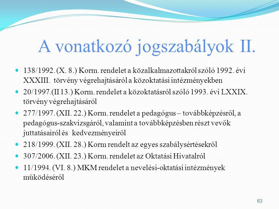 A vonatkozó jogszabályok II. 138/1992. (X. 8.) Korm. rendelet a közalkalmazottakról szóló 1992. évi XXXIII. törvény végrehajtásáról a közoktatási inté