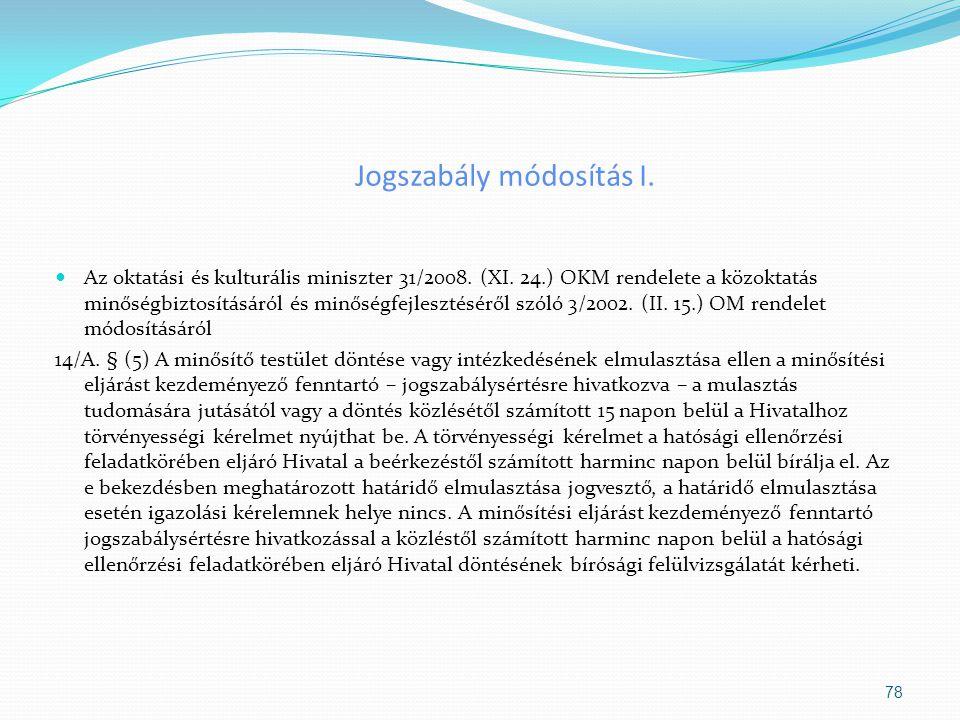 Jogszabály módosítás I. Az oktatási és kulturális miniszter 31/2008. (XI. 24.) OKM rendelete a közoktatás minőségbiztosításáról és minőségfejlesztésér