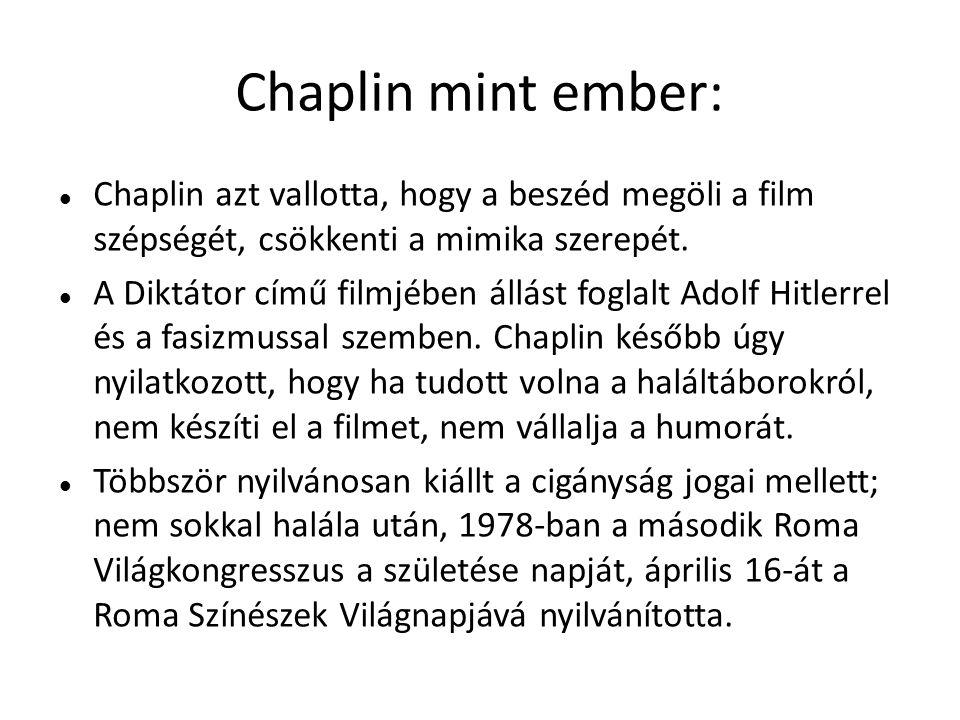 Chaplin mint ember: Chaplin azt vallotta, hogy a beszéd megöli a film szépségét, csökkenti a mimika szerepét.