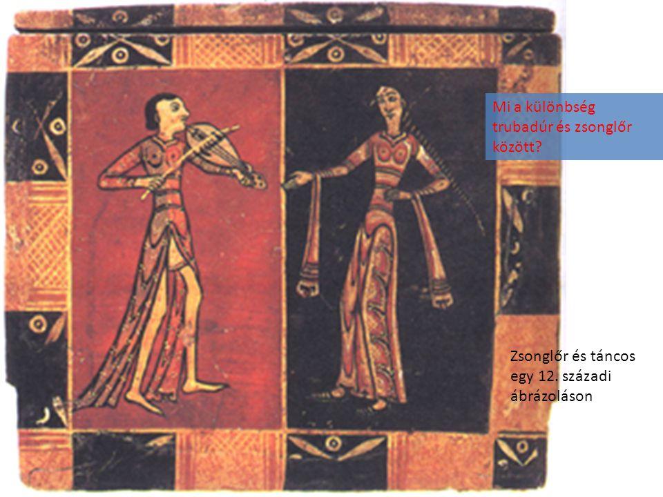 Zsonglőr és táncos egy 12. századi ábrázoláson Mi a különbség trubadúr és zsonglőr között?
