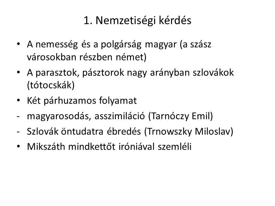 1. Nemzetiségi kérdés A nemesség és a polgárság magyar (a szász városokban részben német) A parasztok, pásztorok nagy arányban szlovákok (tótocskák) K