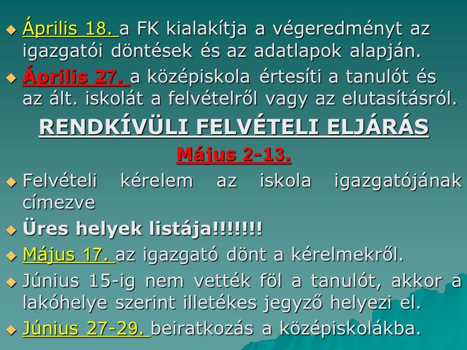  Április 1 8.a FK kialakítja a végeredményt az igazgatói döntések és az adatlapok alapján.
